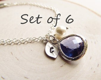 Bridesmaid Gift Set of 6, Sterling Silver with Initial Charm, Birthstone, and Pearl, Birthstone Initial Bracelet,  Bridal Party Jewelry