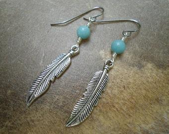 Gypsy Bohemian Feather Earrings Elegant Bohemian  Free Spirit Silver Feather Earrings Natural Blue Amazonite Pewter Feathers  Boho Earrings