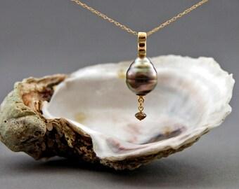 Tamara - Tahitian Circlé pearl pendant, conflict free diamond drop accent, OOAK, pearl jewelry, anniversary, gift for her, wedding, women