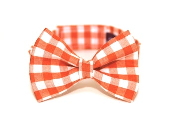 Boy's Bow Tie - Orange Gingham - Orange and White Checkered Plaid Bowtie - baby boy bow tie and suspenders set optional