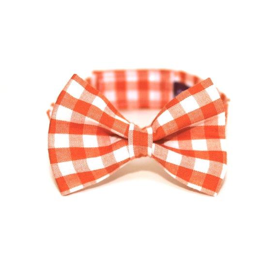 Boy's Bow Tie - Orange Gingham - Orange and White Checkered Plaid Bowtie