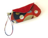 Clutch purse, wristlet bag, bold bright modern, suede, magnetic snap closure,  small purse, colorful handbag, winter bag, pocketbook