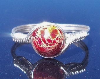 Red Impression Jasper Wire Wrapped Gemstone Ring
