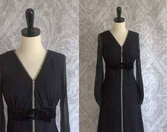Vintage 1960s Cocktail Dress 60s Black Party Dress with Rhinestones Velvet Bow Womens Size Medium