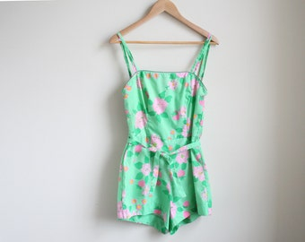 Vintage 1950s Floral Strawberry Playsuit - Green and Pink Cotton Swimsuit - Vintage Bombshell Playsuit - Vintage Bombshell Swimwer