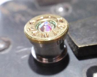 aurora borealis bullet ear gauges 44 magnum Limited Ed Bullet Plug w Aurora Borealis color changing crystal Bullet Shell u pick your gauge