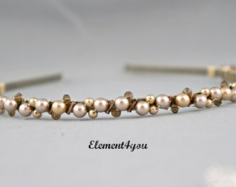 Bridal headband hair band pearls crystals wrapped antique bronze metal headband wedding accessories bridesmaid flower girl topaz champagne