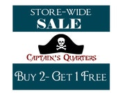 Pirate Wall Decal Captains Quarters Skull Hat Door Vinyl Wall Decal Sticker