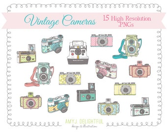 Vintage Cameras CLIP ART SET for personal and commercial use