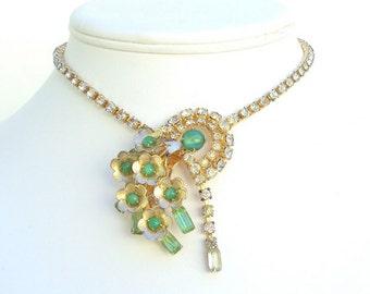 Designer Necklace Green Rhinestones and Glass Vintage Signed