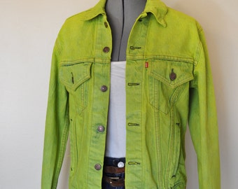"Mens 38R Small Denim JACKET - Hand Dyed Chartreuse Upcycled Levi's 70s Denim Trucker Jacket - Adult Men's Size 38R Small (36"" chest)"