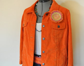 "Orange Medium Denim JACKET - Orange  Hand Dyed Upcycled J Jill Cotton Corduroy Trucker Jacket - Adult Womens Medium Tall (42"" chest)"
