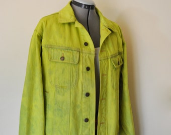 "Mens Medium Denim JACKET - Hand Dyed Chartreuse Upcycled Wrangler Denim Trucker Jacket - Adult Men's Size Medium (46"" chest)"