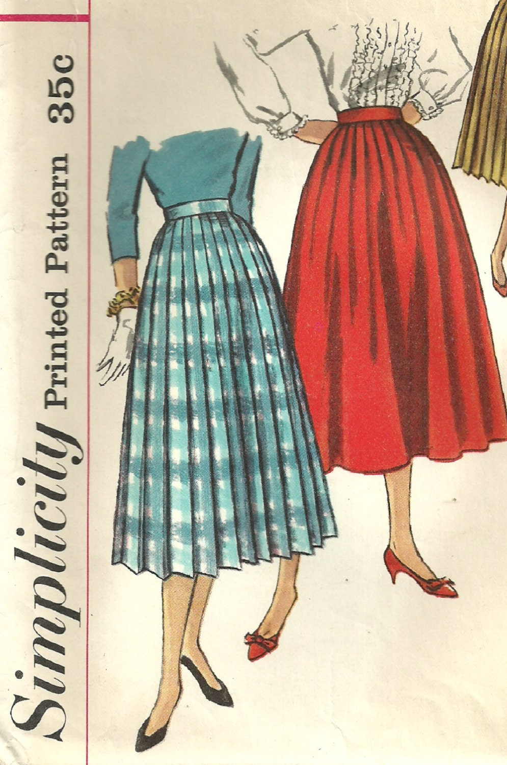 simplicity 2192 vintage 50s sewing pattern pleated skirt