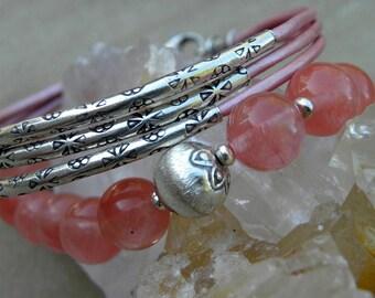 Sterling Silver and Soft Pink Leather Bracelet Multiple Strands BOHO Urban Modern