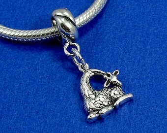 Giraffe European Dangle Bead Charm - Sterling Silver Giraffe Charm for European Bracelet