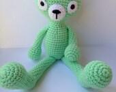 Hand Crocheted Teddy Bear Stuffed Animal Plush OOAK Acrylic Yarn