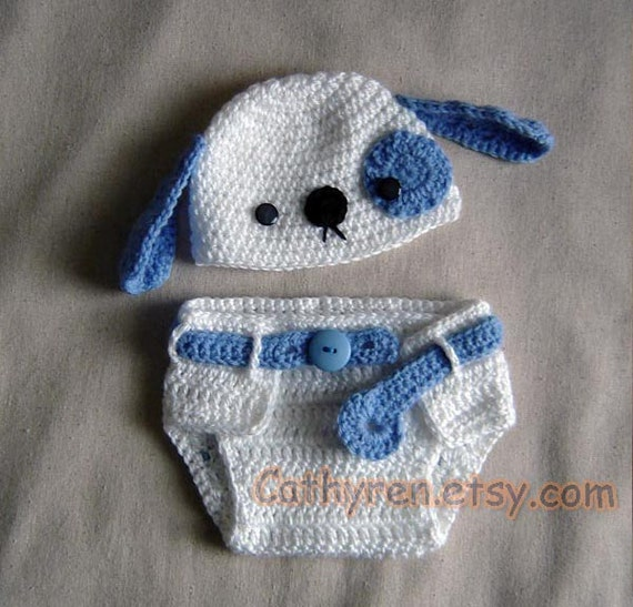 Crochet Dog Hat And Diaper Cover Pattern : Baby Puppy Hat and Diaper Cover Set Photo prop INSTANT