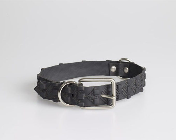 Bike Tyre Dog collar - Ethical Upcycled rubber bike tyre - Waterproof Eco Pet Fashion.