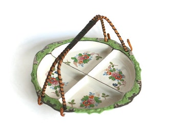 Ceramic Mint Green Floral Divided Relish Tray Rattan Wicker Bale Handle Japan