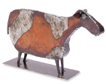 Reclaimed Metal Cow Sculpture Tabletop Farmhouse Decor