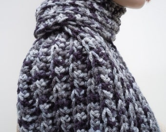 Variegated Blue Gray Scarf - Mens Scarf - Womens Scarf - Crocheted Scarf