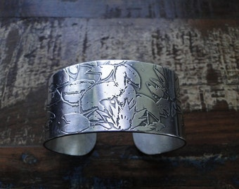 REDUCED - Wide Sterling Silver Cuff Bracelet with Acid Etched Water Lillies and Lotus Blossoms Reticulated Metal