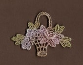 Hand Dyed Venise Lace Petite Flower Basket Applique Antique Sweet Spring Blooms