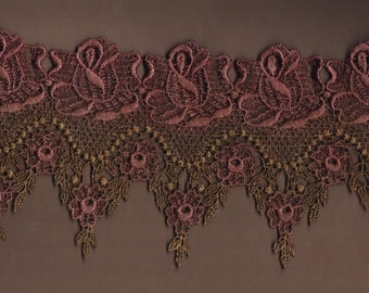 Hand Dyed Venise Lace Victoriana  Aged Tarnished and Tattered Roses