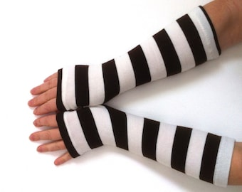 WINTER SALE Fingerless  gloves striped  gloves  nice knit jersey