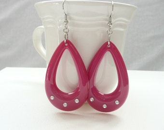 nd-Hot Pink Open Teardrop Dangle Earrings with Rhinestones