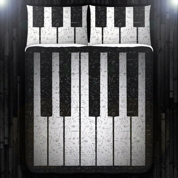 Music Note Key Piano Bedding Duvet Cover Queen Comforter King