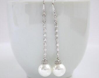 Pearl Drop Bridal Earrings Long Crystal Pearl Earrings Swarovski Pearl Earrings Wedding Earrings, Perl