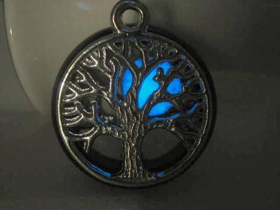 Glow in the Dark, Glowing Jewelry, Glowing Necklace, Moon Necklace, Glowing Moon, Crystal Sun  Necklace, Tree Necklace, Tree of Life