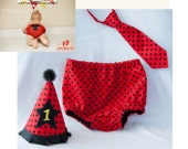 Firefighter or mickey mouse themed Cake Smash Outfit - Party Hat - Diaper Cover - Necktie for 1st Birthday - design by StacyBayless Baby