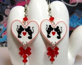 Kissing Mickey and Minnie Silhouette Heart Dangle Earrings