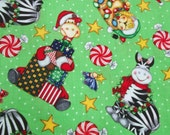 Christmas Fabric, Animals,  Candy, Fabric Yardage,  Green, Fabric Remnants Cotton Fabric, Sewing Supplies
