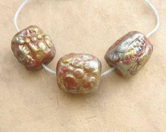 Raku Clay Beads - Trio of Mechanical Nugget Beads