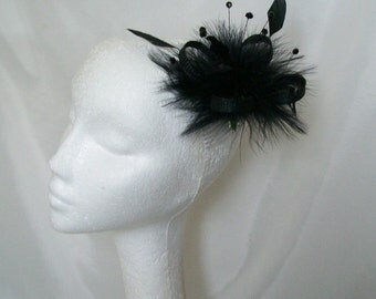 Small Black Sinamay Loop Feather & Jet Crystal Bead Fascinator Hair Comb - Custom Made to Order