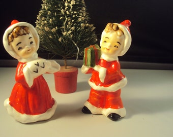 Vintage Pair of Christmas Elf Pixie Boy and Girl  Salt and Pepper Shakers