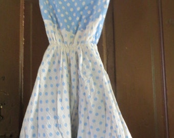 original 1950 girls blue white polka dot  reversible sundress