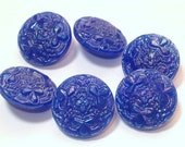 Blue AB Peacock Glass Vintage Buttons 19mm Wonderful Aurora Borealis Set of 6