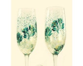 Hand-Painted Wedding Toast Champagne Glasses Hand Painted Teal and Gold Roses Set of 2 - 50th Anniversary Glasses flûtes à champagne mariage