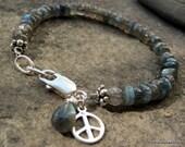 Bliss.........Sterling Silver Labradorite gemstone Peace charm bracelet