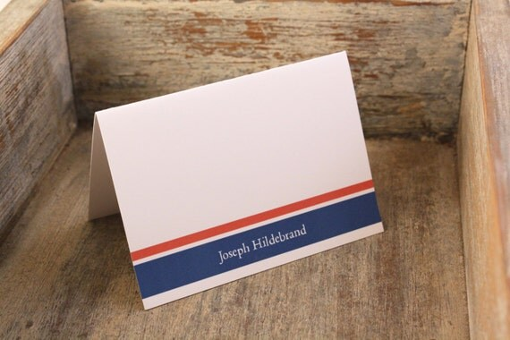 Personalized Stationary - Personalized Stationery Custom Bold Bands Mens Stationery Thank You Notes Set of 12