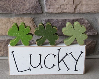White LUCKY BLOCK With 3 CLOVERS for St. Patricks day and home decor