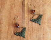 Jewelry. Victorian Inspired Glass and Metal Hanging Earrings