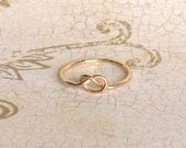 Rose Gold Love Knot Ring, Rose Pink Gold Filled 14K, Forever Promise Friendship Forget Me Knot Bridesmaid Ring, Made to Order