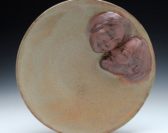 Lovers Art Ceramic Wall Platter Serving Bowl Bas Relief Sculpture Faces, Happy Relationship Plate