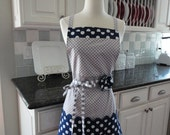 "Blueberry Pie- Navy Blue and Gray Dot-  ""Barbie Style Pockets & More""  Women's Apron - 4RetroSisters"